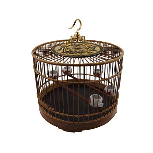 Featured Bamboo Material Birdcage with Hook Indoor and Outdoor Bird Villa Chinese Style Vintage Bird Cage -