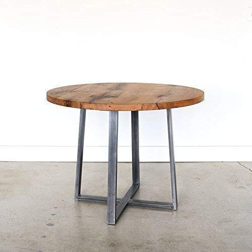 Amazon Com Round Kitchen Table Steel Criss Cross Base Handmade