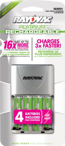 Rayovac Platinum LSD Charger with 2 AA and 2 AAA NiMH, PS332-4B