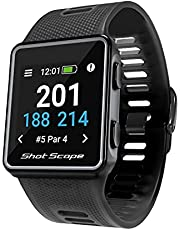 Shot Scope G3 GPS Watch - F/M/B + Hazard Distances - Free Apps - Color Screen - 36,000+ Pre Loaded Courses - No Subscriptions (Black)