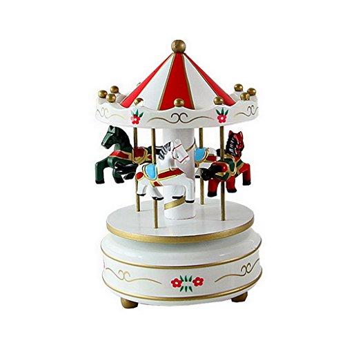 Merry Go Round Music Box Carousel Multi-Colored 4-Horse Animated Figurine Desktop Playset (Christmas Desktop Tree Animated For)