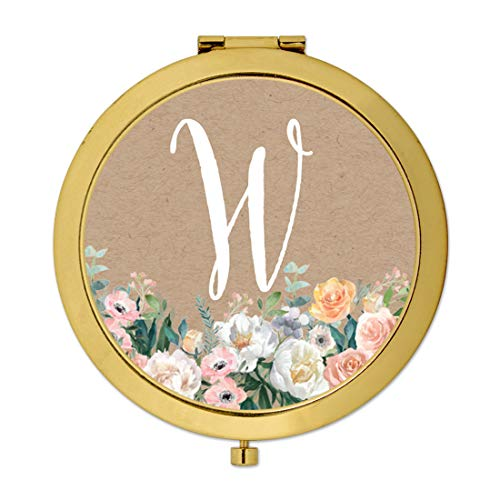 Andaz Press Gold Compact Mirror Bridesmaid's Wedding Gift, Peach Flower Florals on Kraft Brown, Monogram Letter W, 1-Pack, Bachelorette Bridal Shower Wedding Party Gifts