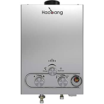 HB HAOBANG Gas Water Heater Liquefied Petroleum Gas 6L/min 1.6 GPM, Instant Tankless Gas Hot Water Heater with Patented Protection Technology