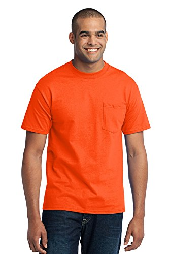 Port & Company Mens Tall 50/50 Cotton/Poly T Shirt with 4XLT Safety Orange