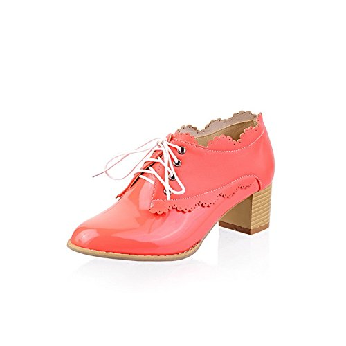 5 Closed Mid Pumps 4 Bandage Toe US WeenFashion PU Leather B Solid Rosered M Patent whith Women's Round Heel 5qwZI