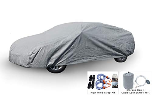 Weatherproof Car Cover Compatible with Chevrolet Corvette Stingray (C3) 1968-1982 - 5L Outdoor & Indoor - Protect from Rain, Snow, Hail, Sun - Theft Cable Lock, Bag & Wind Straps