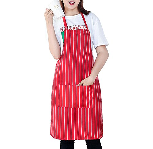 L-SRONG Restaurant Cooking Apron Kitchen Apron with 2 Pockets,Resistant Adult Chef Waiter Bib Aprons - Machine Washable,Comfortable,Easy Care.(Red-and-White - Stripe White Apron