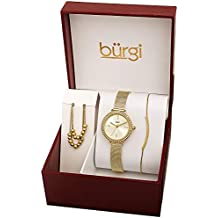 Burgi Women's Jewelry Gift Set – Swarovski Crystal Bezel Watch, Beaded Chain Link Necklace and Crystal Bracelet – Flash Plated Gold and Silver - BUR216YG-S