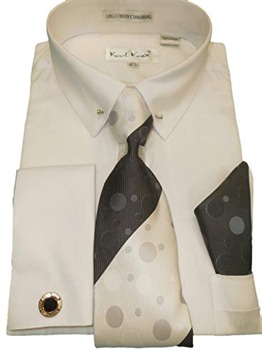 (Karl Knox SX4409 Mens White Pointed Eyelet Pin Collar French Cuff Dress Shirt + Tie (L 16.5 Collar 34/35 Sleeve) )