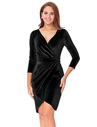 InsNova Women's Black V-Neck 3/4 Sleeve Velvet Bodycon Wrap Dress for Cocktail Holiday Christmas Party