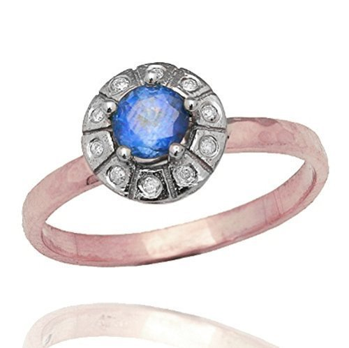 Hammered 14K Rose Gold Band Set with Blue Topaz and Genuine Diamond Women's Ring Art Deco Engagement Ring Size 5.5 - 6.5