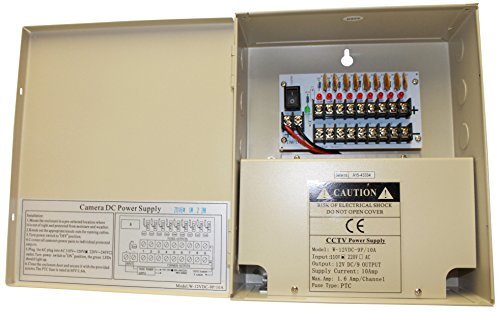 Kenuco CCTV Distributed Power Supply Box | 12V DC | 9 Ports | 10 Amps