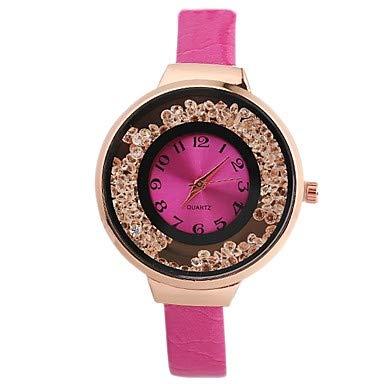 Relojes Hermosos, Mujer Reloj de Pulsera Cuarzo Reloj Casual Esfera Grande PU Banda Analógico Vintage