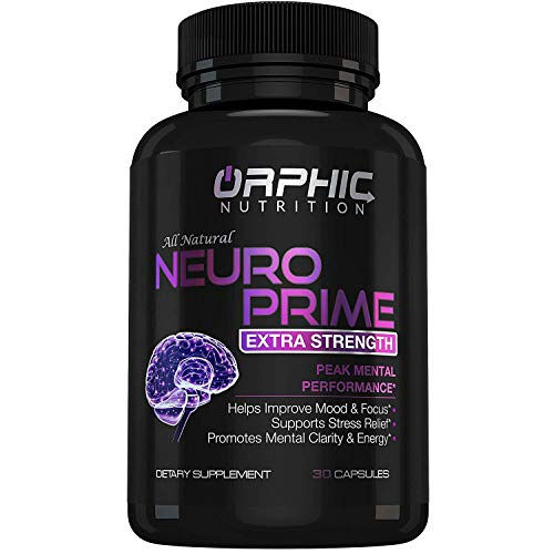 Neuro Prime Brain Booster Supplement - Memory, Focus, Alertness, Clarity & Concentration - Mental Performance Nootropic - Ginkgo Biloba, St. Johns Wort, DMAE, L-Carnitine, Bacopa Monnieri Extract (Best Brain Booster Vitamins)
