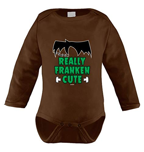 HAASE UNLIMITED Really Franken Cute Infant Long Sleeve Bodysuit (Brown, 18 Months) -