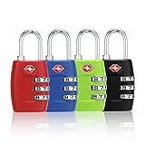 TSA Approved Luggage Locks (4 Pack), 3 Digit Combination Steel Padlocks