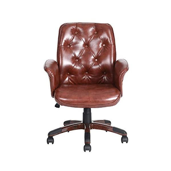Homy Casa Mid-Back Office Chair PU Leather arm Office Chair Brown Office Chair Executive Computer Desk Task Office Chair PU Office Chair with Recline Function
