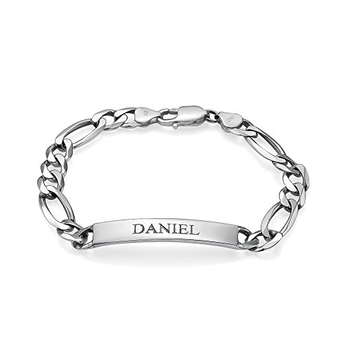 (MyNameNecklace Personalized Signature Men's ID Bracelet - Sterling Silver Custom Jewelry for)
