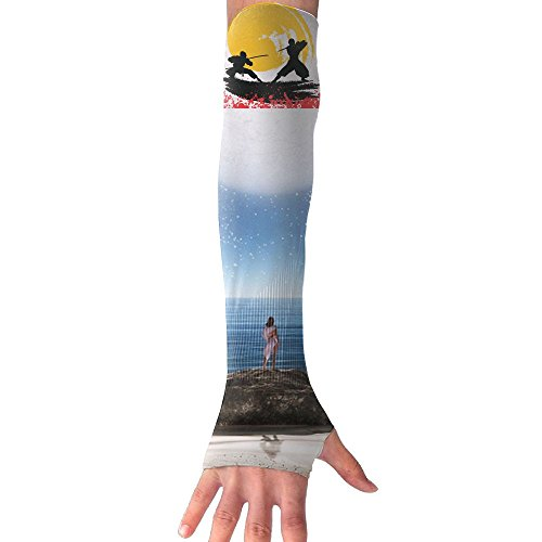 (Newglovesparty Silhouette Of Warrior Ninjas In The Moonlight Medieval Battle Sun Protective Sunscreen Cuff Glove Arm Sleeves)