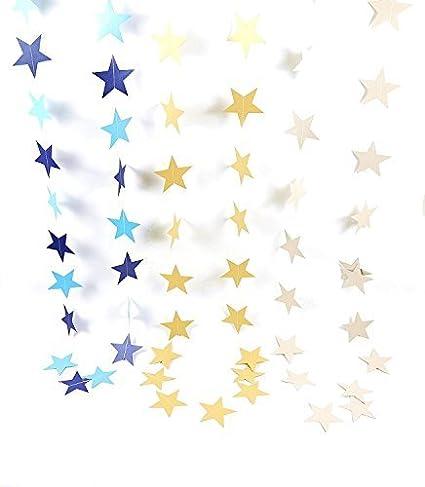 Da.Wa 4M Bunting Colgantes Sal/ón de Fiestas la Boda de Papel de Estrellas Guirnaldas de Cumplea/ños Decoraci/ón de Su Casa