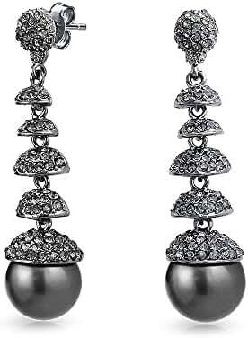 Bling Jewelry Simulated Pearl Crystal Chandelier Earrings Gun Metal Plated