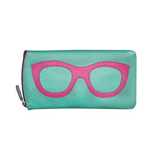 ili New York 6462 Leather Eyeglass Case (Turquoise/Hot Pink)