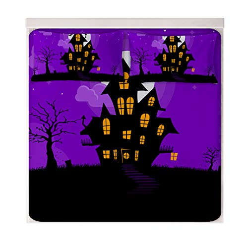 Halloween Sheet Set for Boys and Girls, 3D Cartoon House Purple Print for Kids Bed Sheets Set - Soft Ultra Microfiber Bedding Set All Season Cozy Warmth, Breathable & Hypoallergenic -
