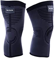 Mava Sports Knee Compression Sleeve Support (Pair) for Joint Pain & Arthritis Relief, Injury Recovery, Imp