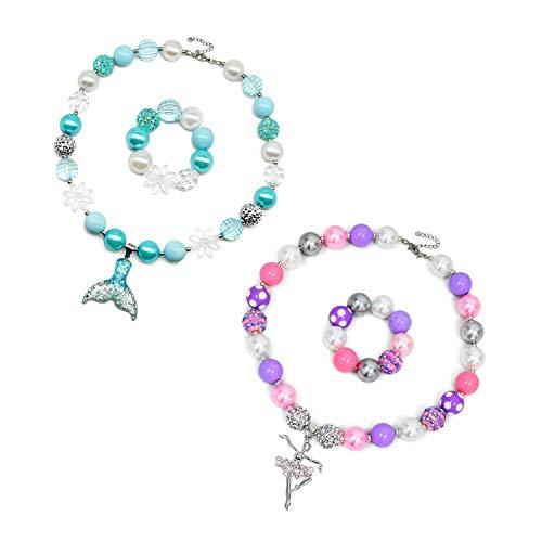 vcmart Girls Chunky Necklace and Bracelet Set Bubblegum Gumball Beads Girls' Birthdays Gift Pony Pendant 2 Kit