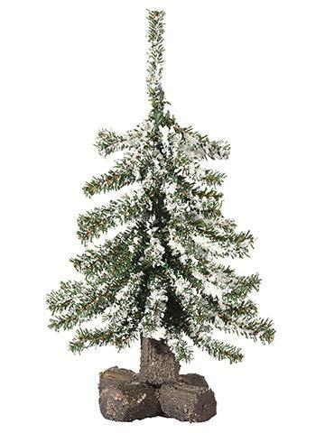 AFL001 1pc, Mini Artificial Snowy X-mas Tabletop Pine Tree on Wood Stand - 12'' Tall