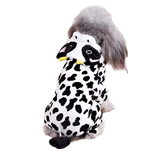 (Coppthinktu Dog Cow Costume - Adorable Halloween Dog Costumes Cow Style Hoodie Soft and Comfortable Jumpsuits for Small)