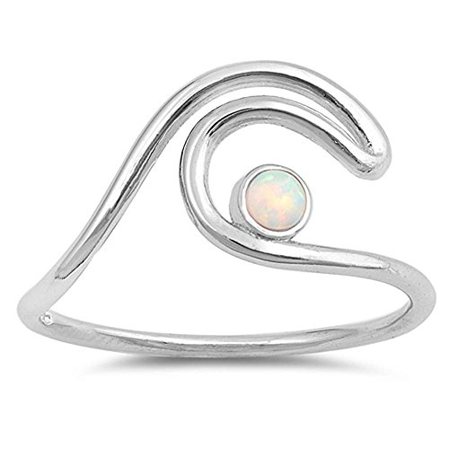 Sterling Silver Double Wave (Sterling Silver Double Wave with Round Lab Created White Opal Ring Sizes 8)