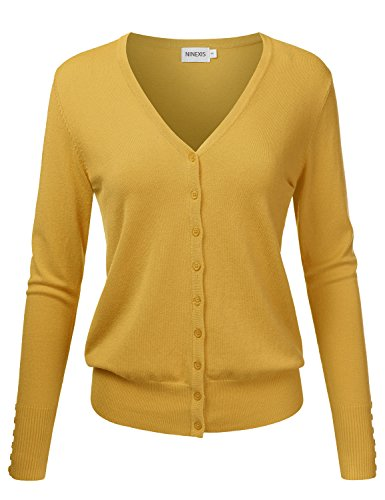 - NINEXIS Womens Basic Long Sleeve V-Neck Button Down Knit Cardigan Sweater Mustard L