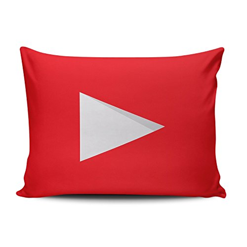 KEIBIKE Personalized Social Media Logo Youtube Rectangle Decorative Boudoir Pillowcases Red Design Zippered Throw Pillow Covers Cases 12x16 Inches One Sided ()