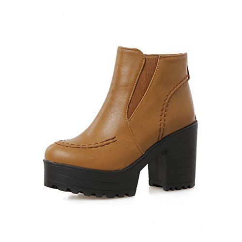 Boots Women's Brown Toe Material WeenFashion Heels Ankle Solid Soft High high Round Closed 1Pd6q