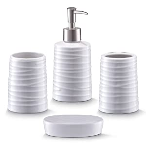 zeller 18266 bathroom accessories 4 part set ceramic white