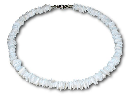 Shell Necklace Puka Choker (White Rose Clam Chips Puka Shell Necklace with Lobster Clasp (White))