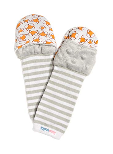 "Handsocks Plushy Stay On Strap-Free No-Scratch & Warmth Mittens (Medium (6-12 Months. Bicep Size Should be Bicep 5.0""-8.0""), Felix(Grey/Foxes))"
