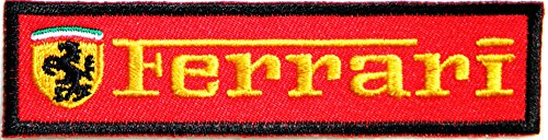Ferrari Logo Sign Sport Car Racing Patch Sew Iron on Applique Embroidered T shirt Jacket Costume Gift BY - Embroidered Sweatshirt Ferrari