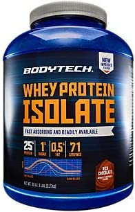 BodyTech Whey Protein Isolate Powder with 25 Grams of Protein per Serving BCAA s Ideal for PostWorkout Muscle Building Growth, Contains Milk Soy Rich Chocolate 5 Pound