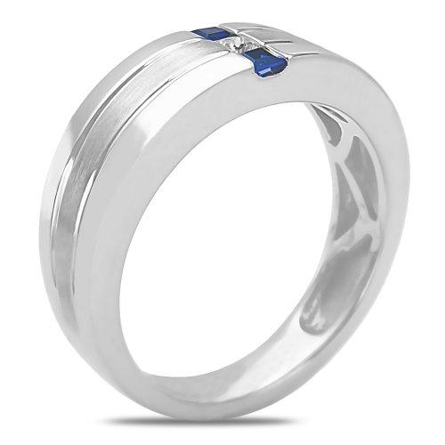 mens 112ct diamond sapphire wedding band 10k white gold with cage backamazoncom - Mens Sapphire Wedding Rings