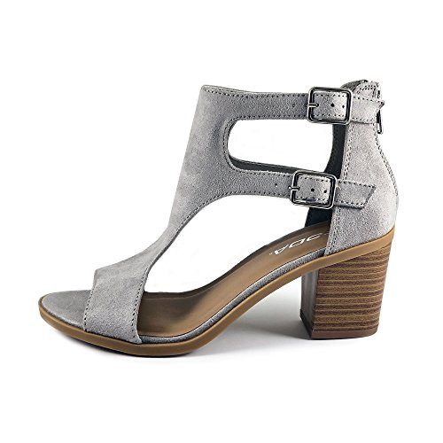 Double Cutout Grey Stacked Sandal Toe Heel Open Women's Buckle Soda qwgtTXw