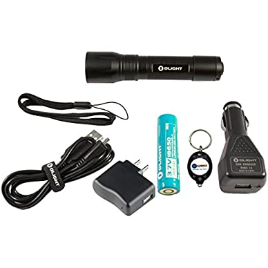 Bundle: Olight R20 Seeker Rechargeable LED Flashlight 600 Lumens w/ 1x Olight 18650 2600mAh Rechargeable Li-ion...