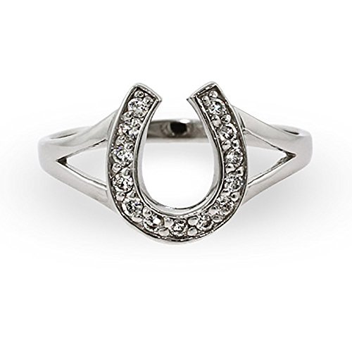 Eve s Addiction Sterling Silver Cubic Zirconia Horseshoe Ring, Sizes 4 to 9