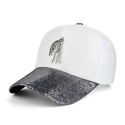 メタルリーフブリングバイザー野球帽 シャイニング ガールズ 野球帽 女性 キャップ,ブラック,調節可能な