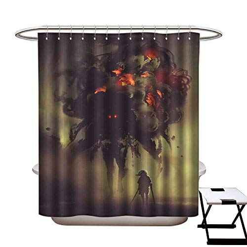 warmfamily Shower Curtain with Hooks Man Holding Twin Swords Standing with Giant Smoke Monster Shower CurtainW48 x L72