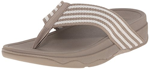 FitFlop Women's Surfa Flip-Flop, Stone/Rainy Day, 9 M US