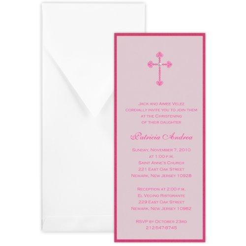 (Layered Tea with Vellum Girl Baptism Christening Invitation - Set of 20)