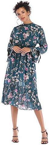 Good dress Frauen Spitze Trompete Ärmel Chiffon Kleid Floral Lange Ärmel Große Schaukel Rock Weiblich, Blau, m