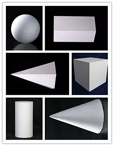 6 plaster sketches of geometry, art supplies, sketching (white) by GLWAD